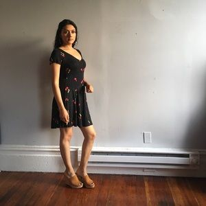 Mini black dress with cherry print